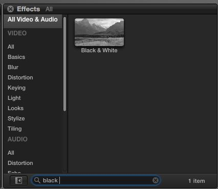 FCP X Search field with