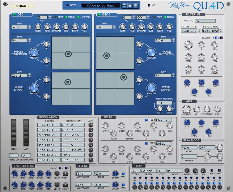 Rob papen QUAD interface