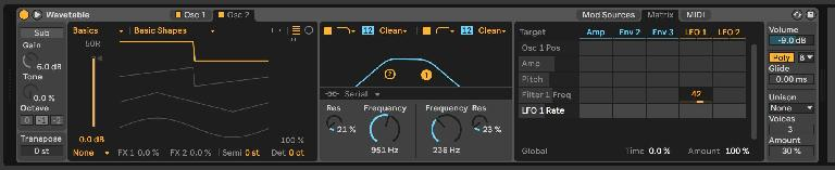 LFO 1 assigned to Filter 1 Freq in Wavetable.