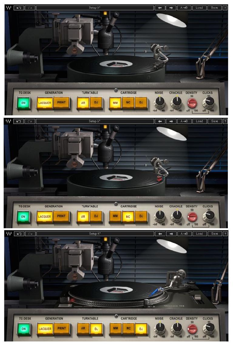 Fig 5 The three cartridge options (top to bottom): MM, MC, DJ