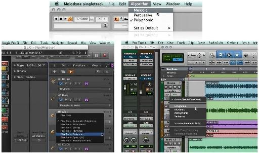 Three different apps performing time shifting functions. Look, even the names look similar across Melodyne, Logic & pro Tools.