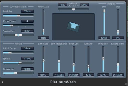 Snare's platinum reverb settings