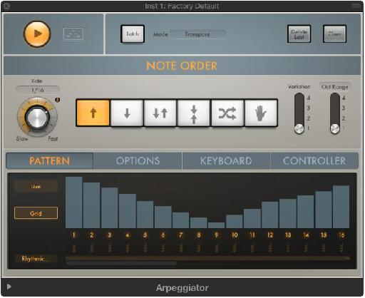 The Arpeggiator allows you to build virtually any kind of pattern you can imagine.