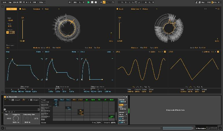Global Modulation amount slightly exaggerated and assigned to Mod Wheel control, with Global Time accelerated by 33%, filters deactivated, and wavetable displays in circular mode, toggled at the upper right corner of Wavetable's fullscreen GUI.