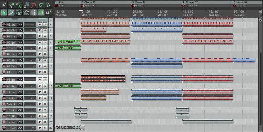 This is what my arrangement looks like before the Ripple Editing per track. You can see I have an item selected.