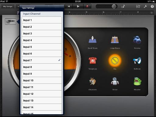 Lots of inputs in GarageBand - but you can only record using one at a time...
