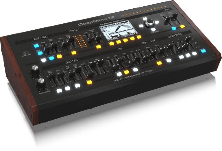 Mock up of the Behringer DeepMind 12 desktop analog synthesizer.