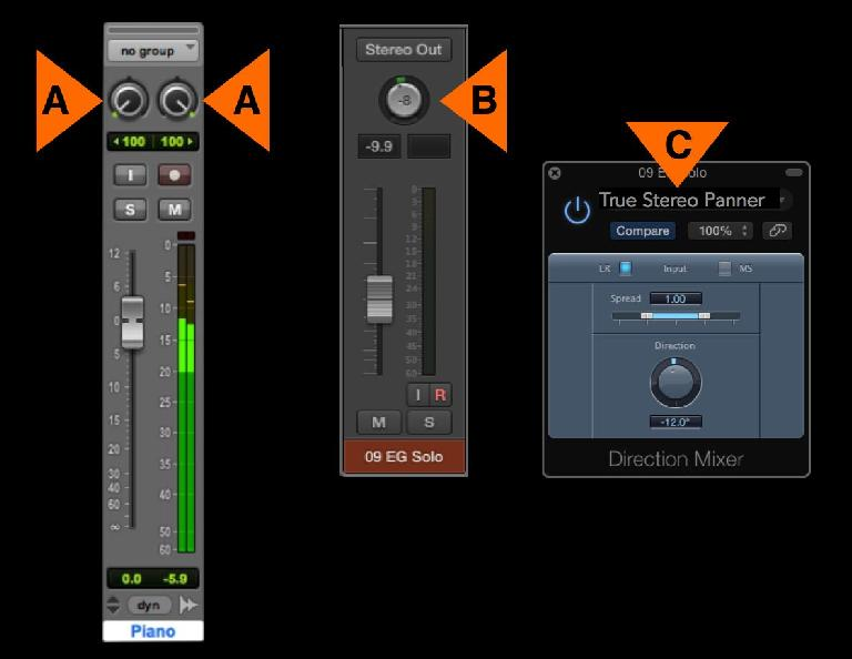 Fig 3 L to R: A) Proper stereo Pan controls ; B) A stereo Balance knob ; C) An imaging plug-in (Logic's DirMixer) that does stereo true panning