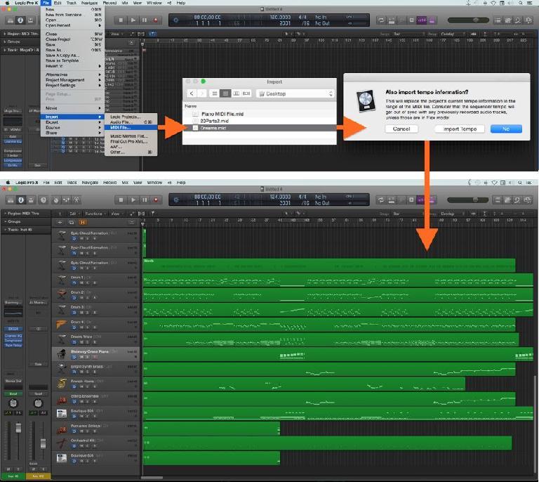 Fig 2 Importing a Standard MIDI File into Logic