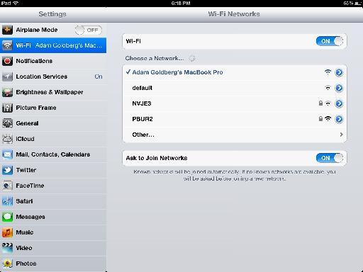 Settings > Wi-Fi.