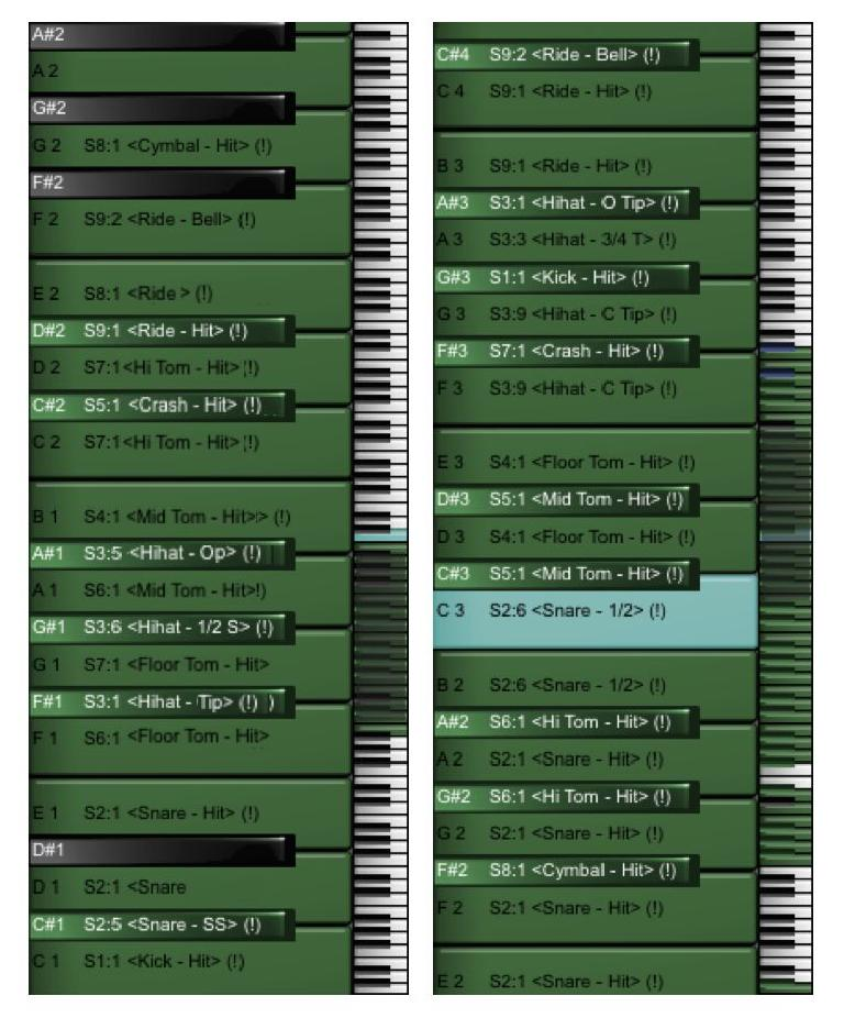Fig 3 The General MIDI standard drum map (L) vs a custom drum map (R)