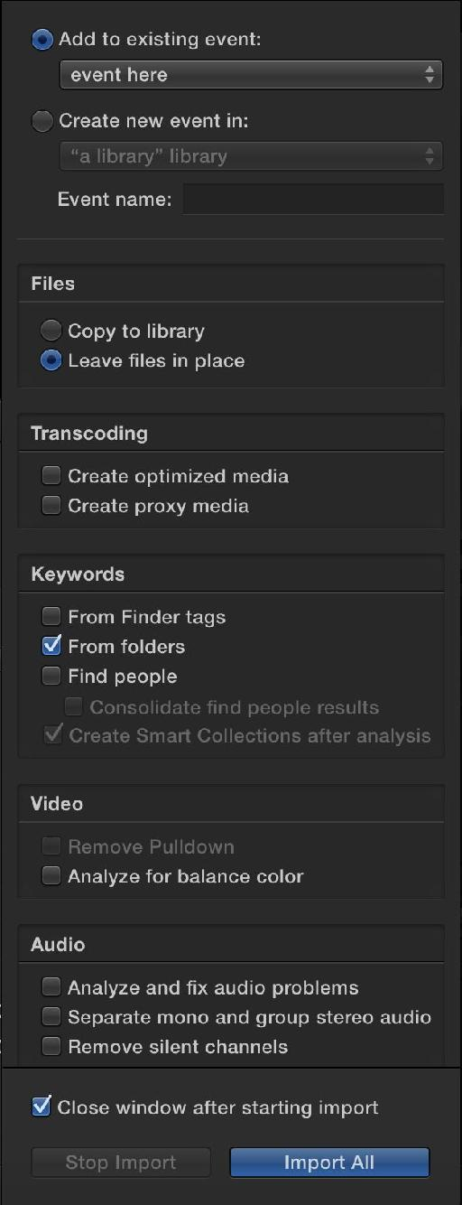 Importing options are now up-front.