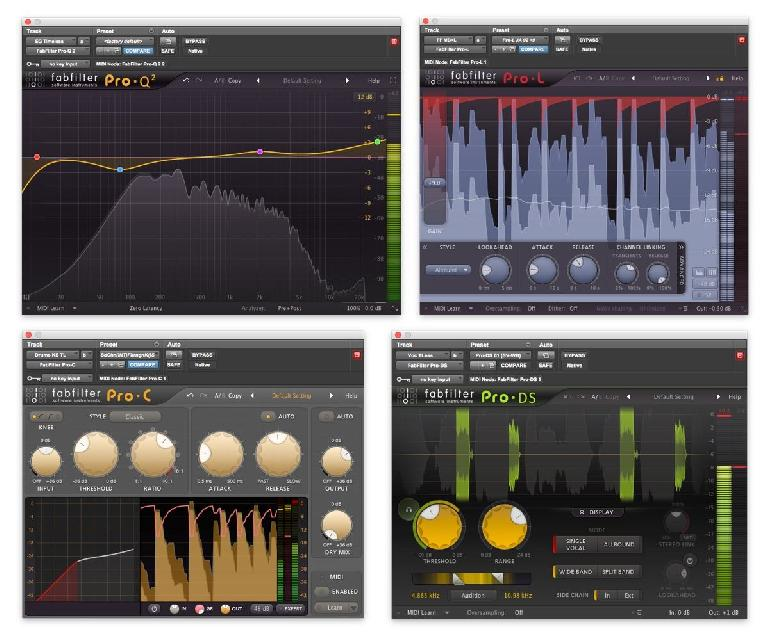 Fig 1 Real-time displays in FabFilter's Pro-series processors: (Top, L->R): Spectrum Analyzer (Pro-Q 2 and Pro-MB); real-time gain-reduction display (Pro-C and Pro-L); (Bottom, L->R): animated Transfer Function display (Pro-C, lower right); sibilance detection/gain-reduction display (Pro-DS).