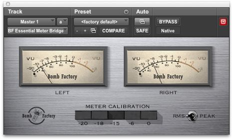 Bomb Factory Meter Bridge in Pro Tools