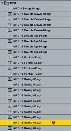 Live's MPC groove templates