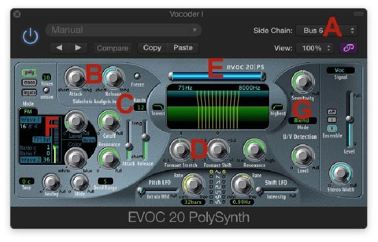 Fig 3 Setting up the EVOC 20 PolySynth for the classic Vocoder effect