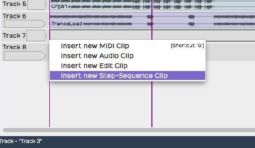 Insert Step Sequencer Clip