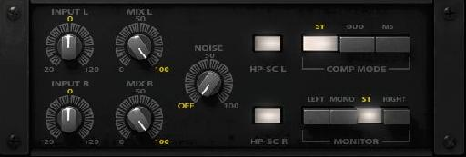 Fig 3 The extra features in the Waves dbx 160: Mix (for parallel compression), Noise, HPF, and stereo processing options