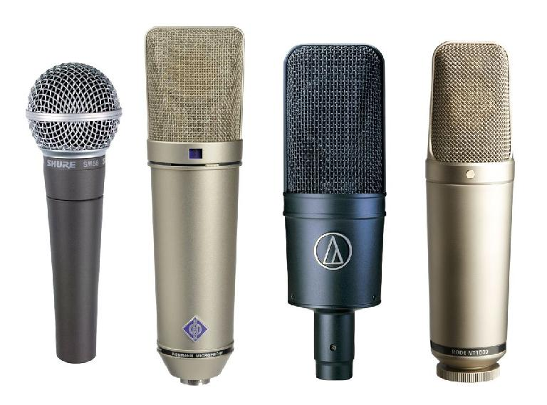 Fig 1: (L to R) A Shure SM58 (the classic dynamic stage mic); a Neumann U87 (a classic (but very pricey) large-diaphragm vocal condenser); a couple of more budget-conscious vocal condensers (AT 4033, Rode NT1000).