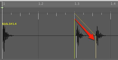 Drag the intended beat to the transient that should be on that beat, connecting them with the yellow line that appears. In this example the third kick drum should be on the third beat of the bar