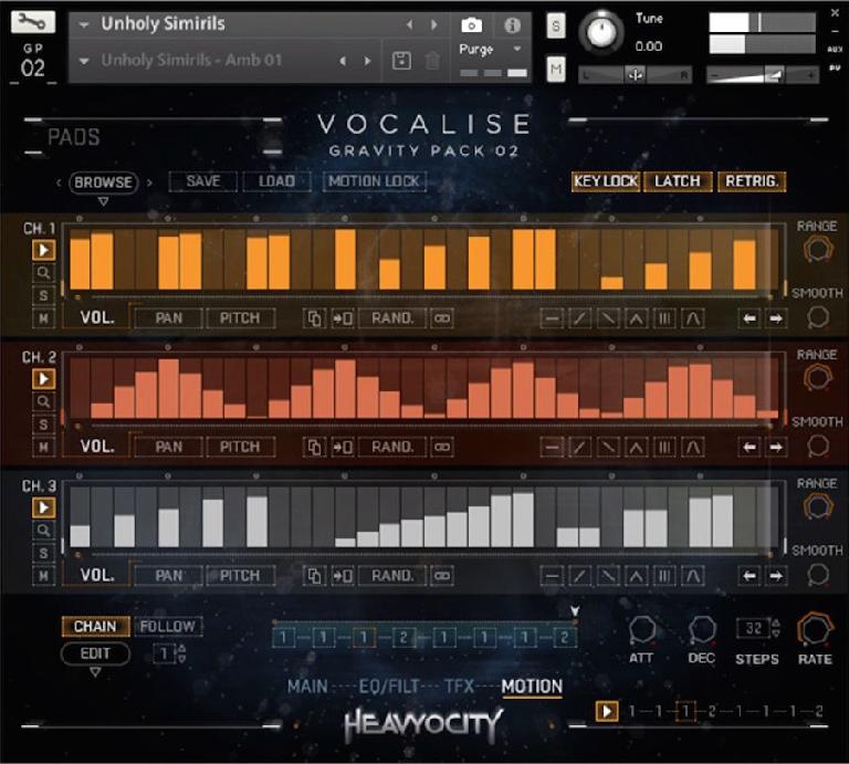 Heavyocity's Motion page gives you unique access to automating various parameters over time.