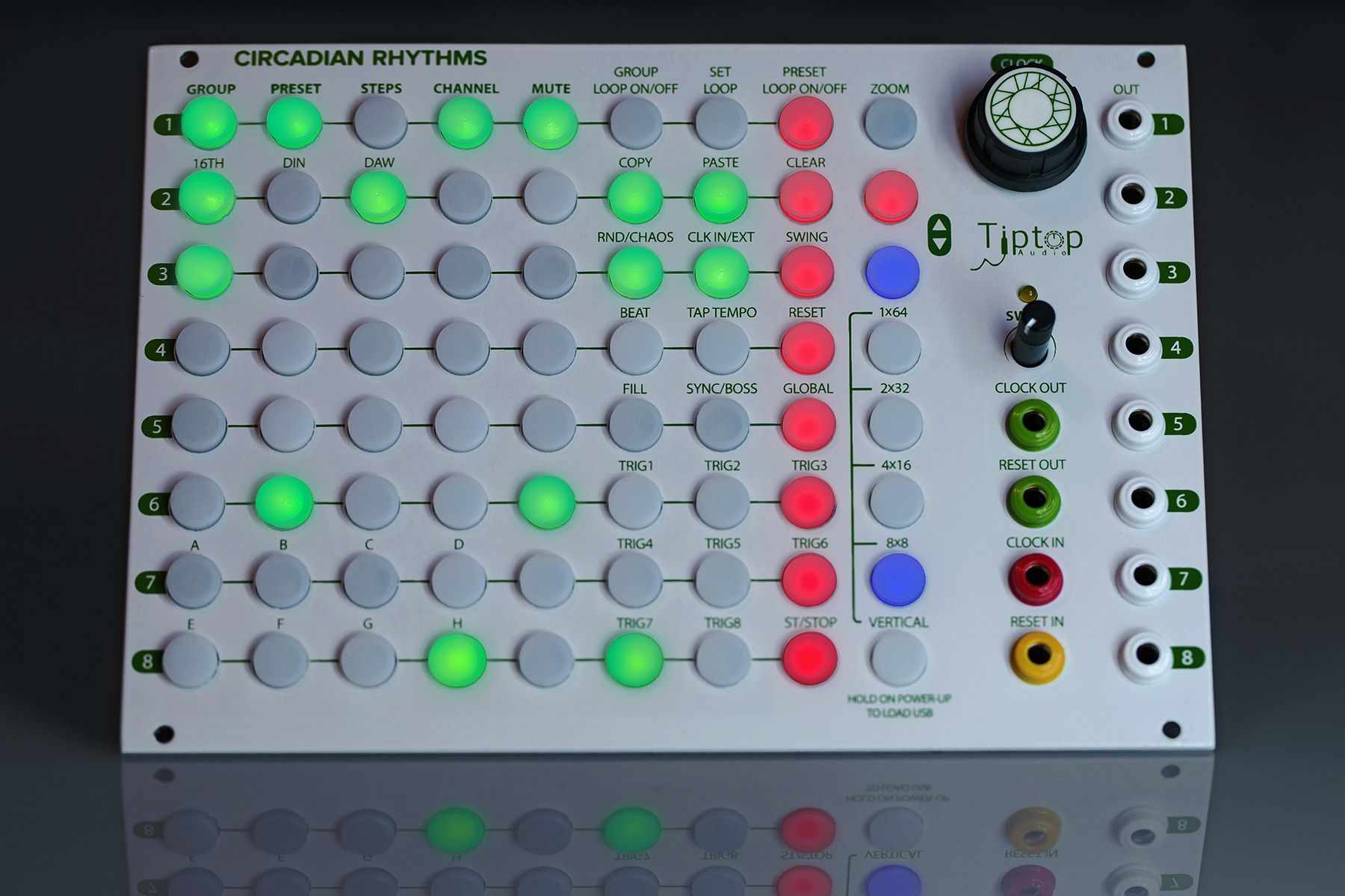 TipTop Audio Circadian Rhythms Grid Sequencer close-up.