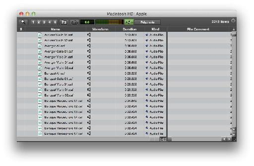 The same files viewed in Pro Tools.