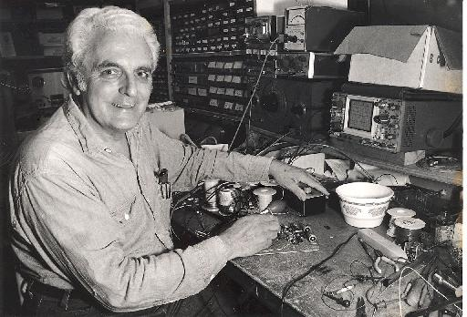 Bob Moog at his workbench.