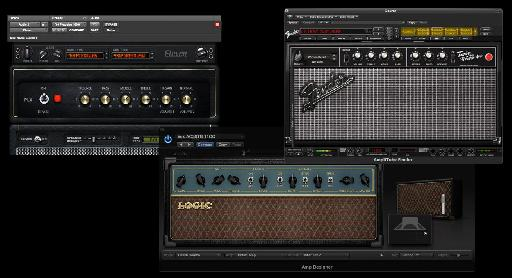 Some Guitar Amp sims (L to R): Avid's Eleven, Logic's Amp Designer, IK Multimedia's Amplitube.