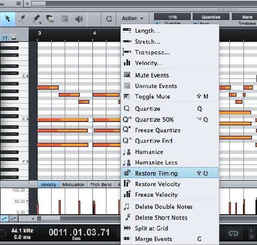MIDI Actions Menu