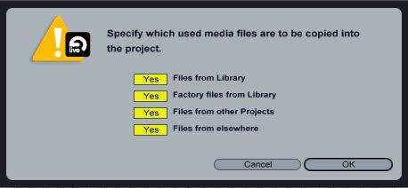 Live's 'Collect All and Save' function ensures that all audio and video files referenced by the project are copied into the project folder.