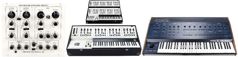 Oberheim SEM (L); 4-Voice & 8-Voice (C); OBXa (R)