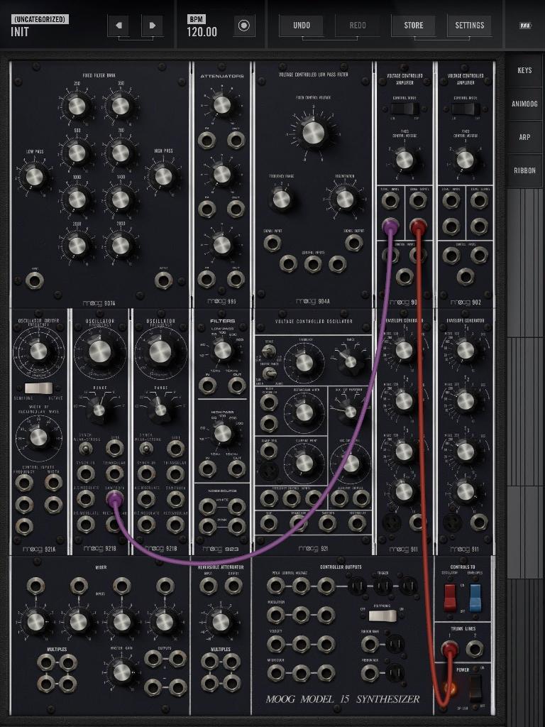 Oscillator to VCA to trunk.