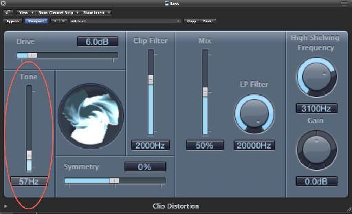 Tone slider at low setting