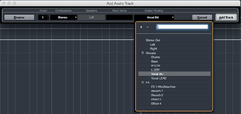Figure 6. The Add FX Channel dialog box with folder options.
