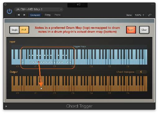 Fig 2 Logic's Chord Memorizer MIDI plug-in can also be an excellent drum re-mapper'