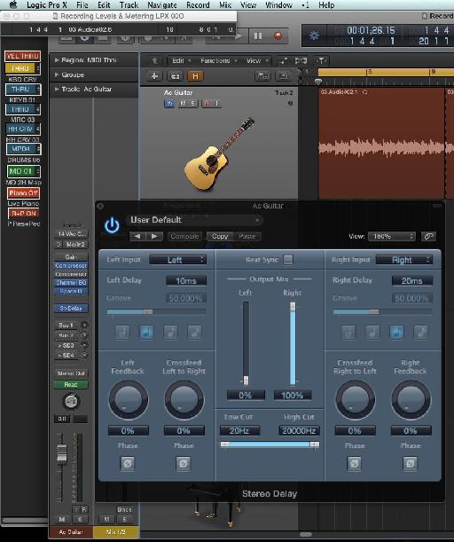 Settings in the Stereo Delay plug-in for Doubling.