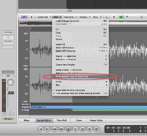 Write sample loop to audio file