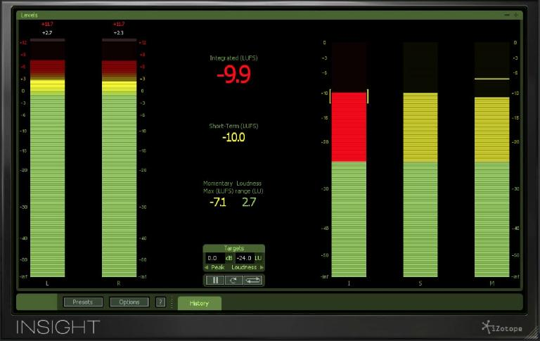 iZotope's Insight, showing metering for various new Loudness standards