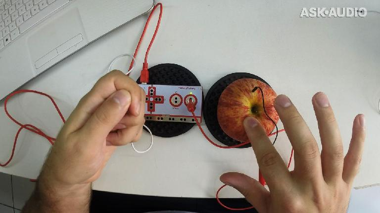 Using the Makey Makey, an apple, some alligator clips and your body to make a circuit.
