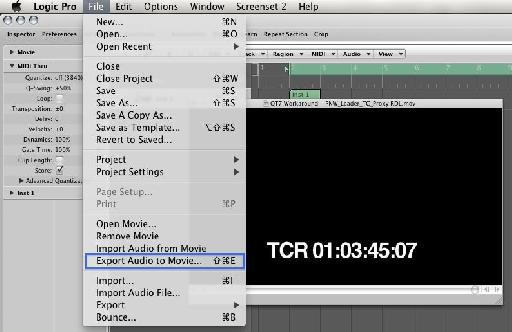 Figure 1: Export Audio to Movie function, only available when running Logic Pro in 32-bit mode.