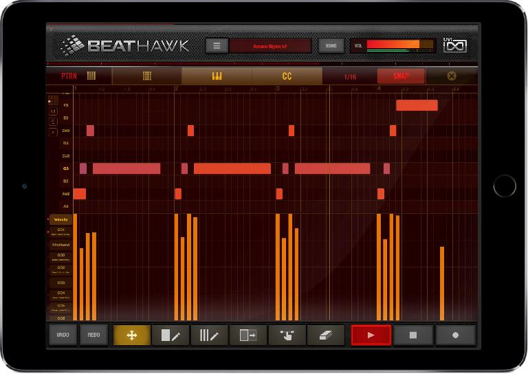 UVI Beathawk 2 piano roll editor on iPad.