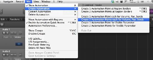 If you'd prefer to use menu commands, you can find these under Mix > Create Automation > ...