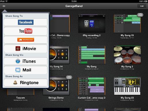GarageBand's Share menu.