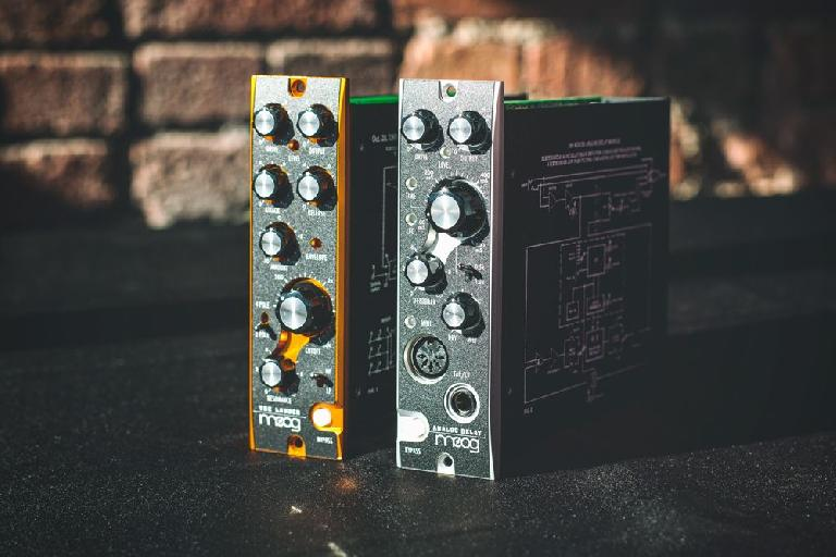 Moog 500-series analog effects modules.