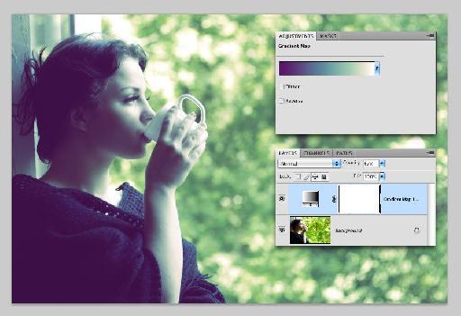girl drinking coffee-purple to white gradient-opacity 67
