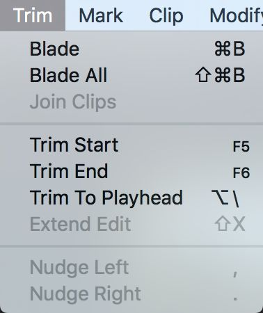 These trim commands are my favorite way to tighten an edit, with my custom shortcuts visible too