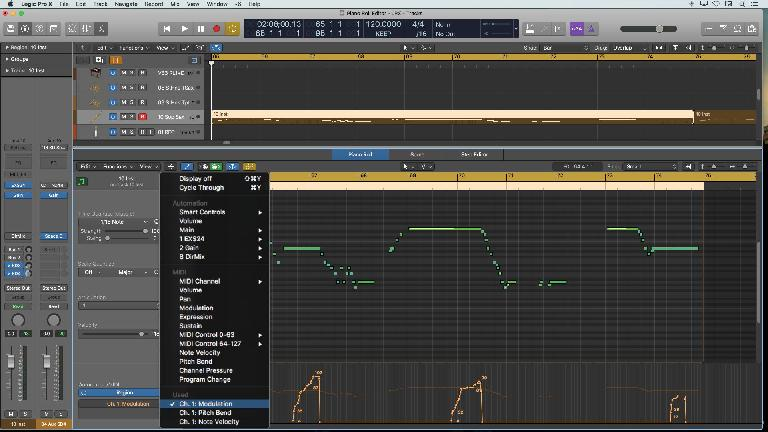The MIDI controller/Automation lane in the Piano Roll Editor