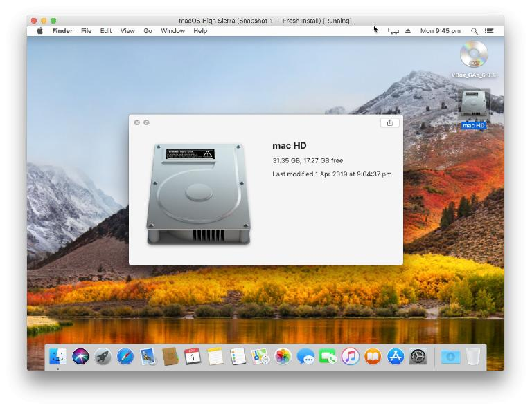 This Mac isn't real — it's a buggy, legal, virtual machine running in Virtualbox
