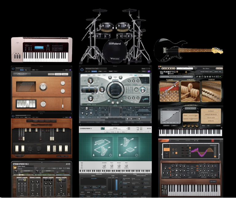 A picture o0f the different modeling synths